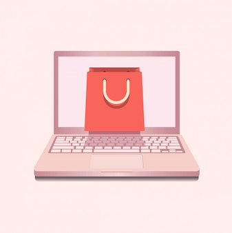 Notebook in rose color with shopping bag mock up template symbol concept.