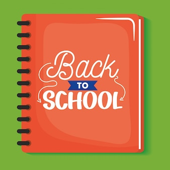 Notebook school with back to school message