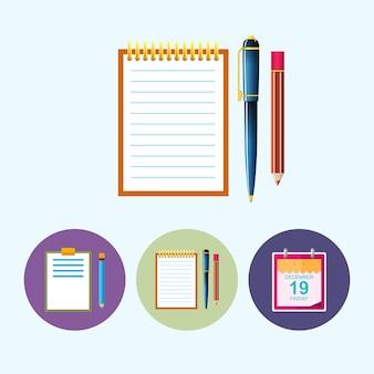 ノートブック。 3つの丸いカラフルなアイコン、鉛筆でクリップボード、ペンと鉛筆でノート、アイコンカレンダーの葉、データアイコン、ベクトル図から設定します。