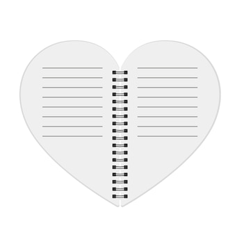 Notebook in the shape of the heart.  illustration.