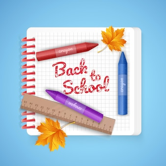 Лист тетради и школьные принадлежности, снова в школу иллюстрации