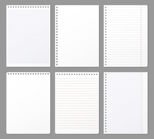 Notebook sheet. sheets torn from notebook, paper note lined page and copybook notepad padded paper illustration set