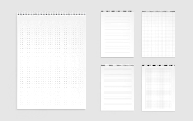 Notebook sheets, blank pages with lines, dots and checks