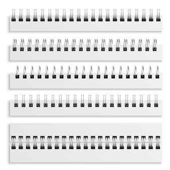 ノートブックスパイラル綴じシート。リアルな鉄ワイヤードスパイラルセット、日記カレンダーまたは教科書金属リングワイヤーモックアップテンプレート、3dベクトル分離イラストコレクション