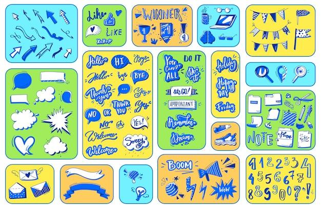 노트북 문구, 사무실 라인 펜 drawning의 쓰기 낙서, 그림의 숫자 아이콘 모음.