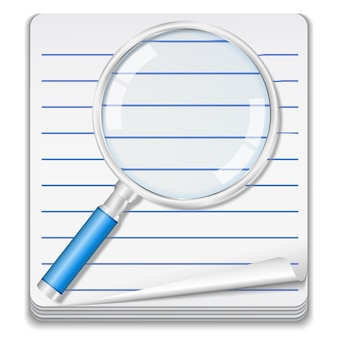 Notebook with magnifying glass concept illustration Premium Vector