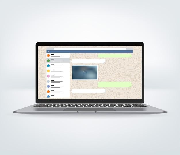 화면에 메신저 응용 프로그램이있는 노트북.