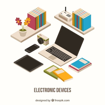 Notebook with other accessories and books in geometric style Free Vector