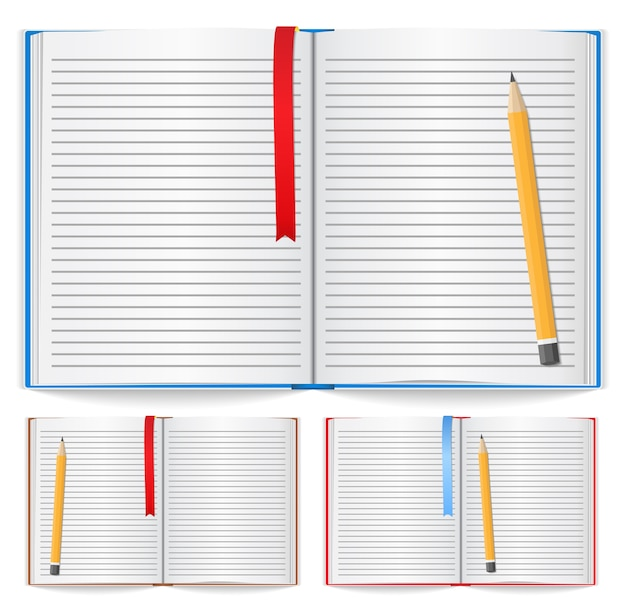 Notebook with pencil Premium Vector