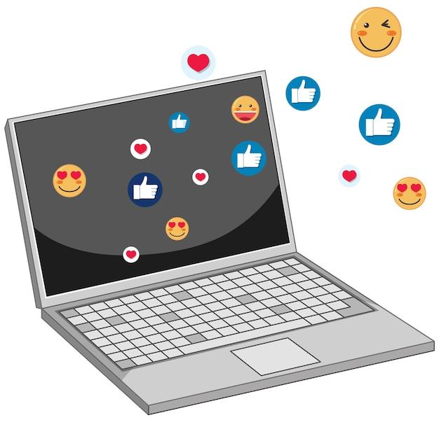 흰색 배경에 고립 된 소셜 미디어 페이스 북 아이콘 테마 노트북