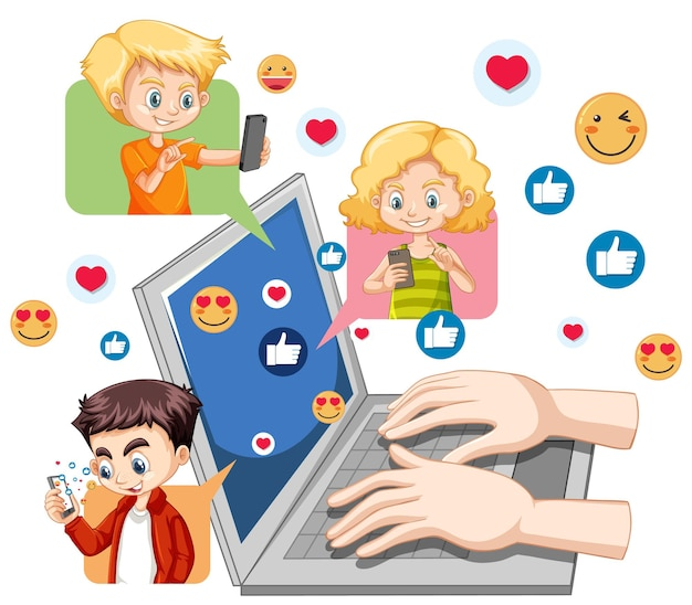 Ноутбук с иконкой социальных сетей и темой людей, изолированной на белом