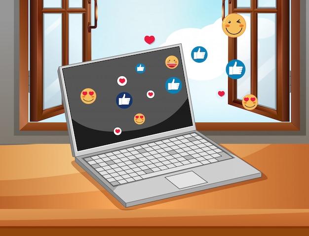 ソーシャルメディアのアイコンテーマと白い背景で隔離の手とノート