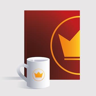 Notebookaと個人のマグカップ、白い背景イラストのコーポレートアイデンティティテンプレート
