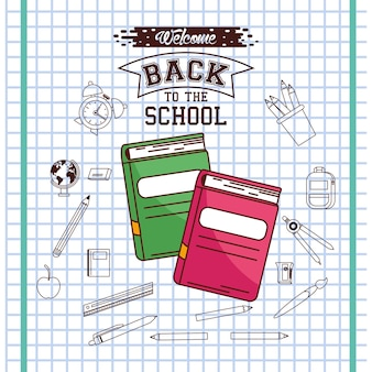 Notebooks on checkered paper background design, back to school eduacation class and lesson theme
