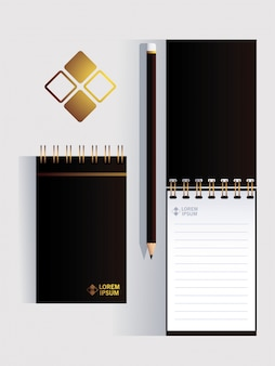 Notebooks, corporate identity template on white