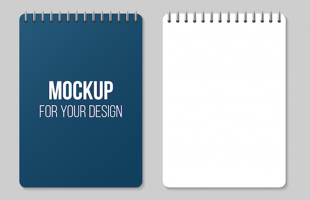 Notebooks lined and dots paper page blank mockup.