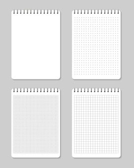 Notebooks lined and dots paper page blank .