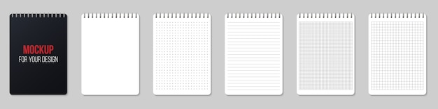Notebooks lined and dots paper page blank.