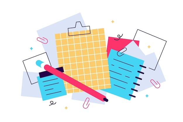 Notebooks, notepads, memo pads, planners, organizers for making writing notes and jotting isolated on white background. decorative design elements. colorful illustration in flat style.