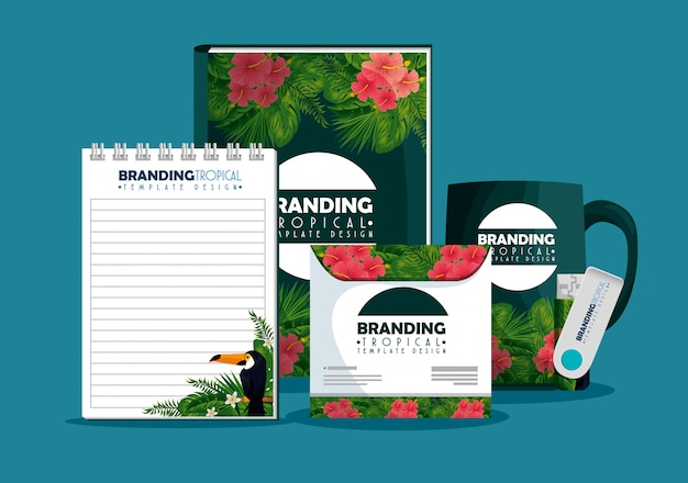 Notebooks with coffee cup and cd envelope with tropical design