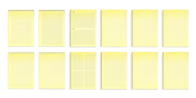 Notebooks with yellow paper in lines, dots and square grids