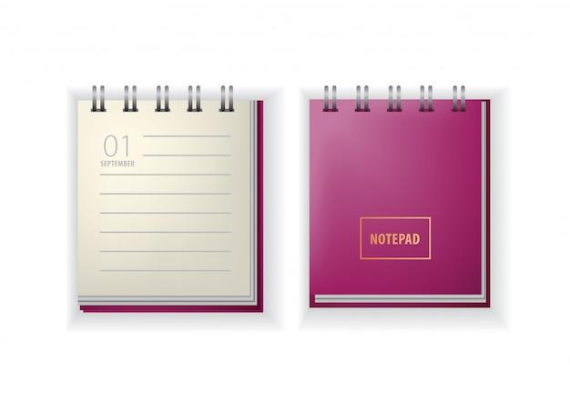 メモ帳。カレンダー、9月、最初、学校に戻る。