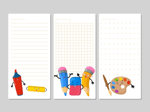Notepad pages with cute cartoon pencils eraser marker