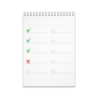 Notepad with checklist with green check marks