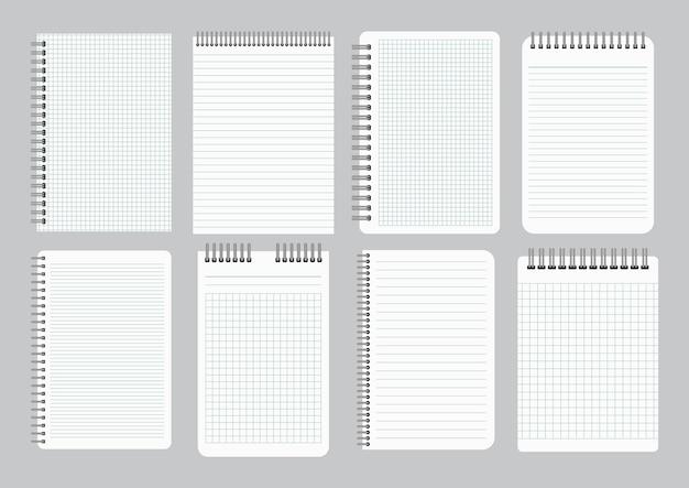Блокноты с пустой линованной и клетчатой бумагой со скоросшивателем железной спирали. набор из восьми листов тетрадей. векторная иллюстрация