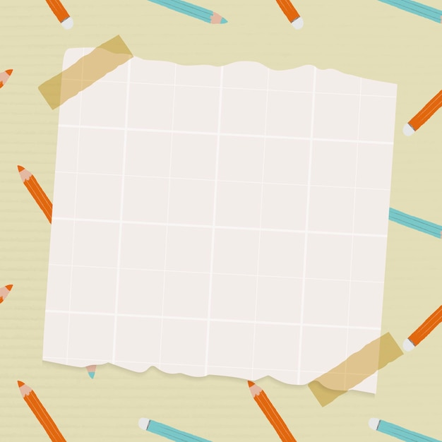 Notepaper on pencil pattern background