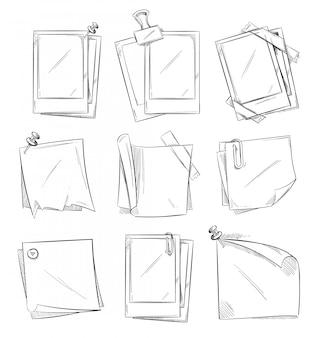 空のヴィンテージフォトフレームとnotepaperの落書きスケッチベクトルコレクション。