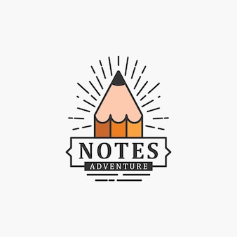 Notes adventure with pencil logo design concept