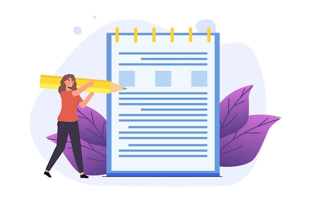 Примечания, концепция записи дневника. женщина пишет журнал. векторная иллюстрация