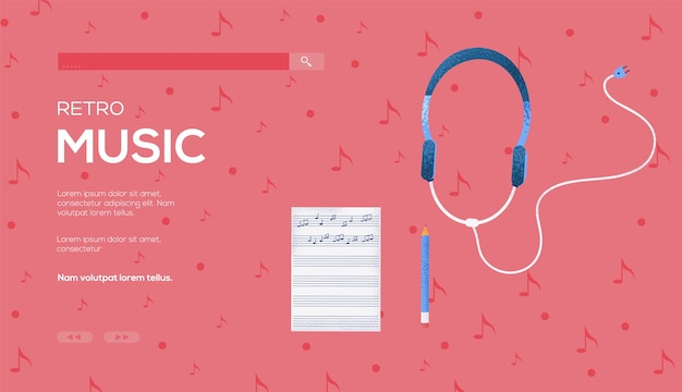 Notes and headphones concept flyer,web banner,ui header, enter site. .