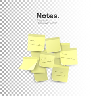 Notes isolated on transparent background.