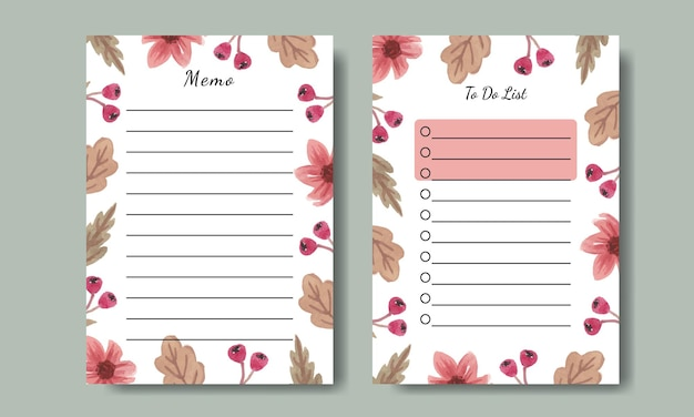 Notes and to do list template with hand painted watercolor pink florals background printable