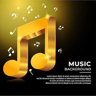 Ноты музыкального аккорда в стиле 3d с золотистым цветом
