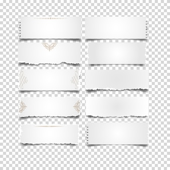 Notes paper white on transparent set