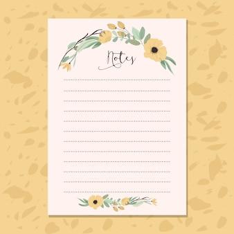 노란 꽃과 메모 용지 프리미엄 벡터