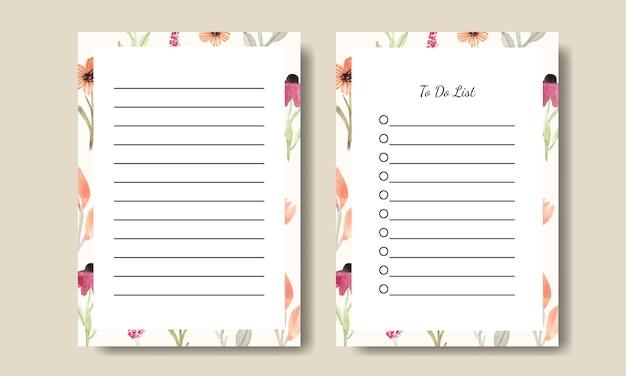Шаблон списка дел для заметок с фоном акварельных полевых цветов