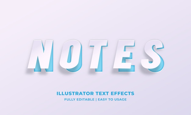 Notes white paper text style effect