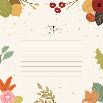 Notes with autumn floral background