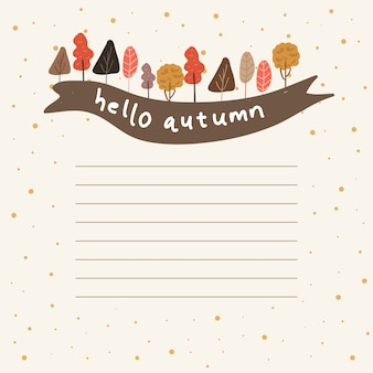 Notes with autumn tree and ribbon background