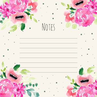 Notes with beautiful floral watercolor frame