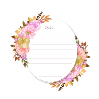 Notes with beautiful floral wreath and abstract dots