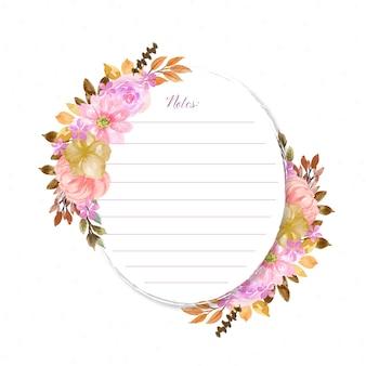 아름다운 꽃 화환과 추상 점이있는 노트