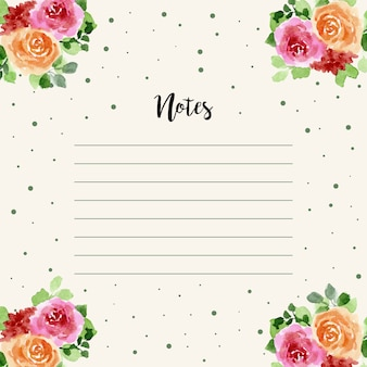 Notes with dots and floral watercolor decoration
