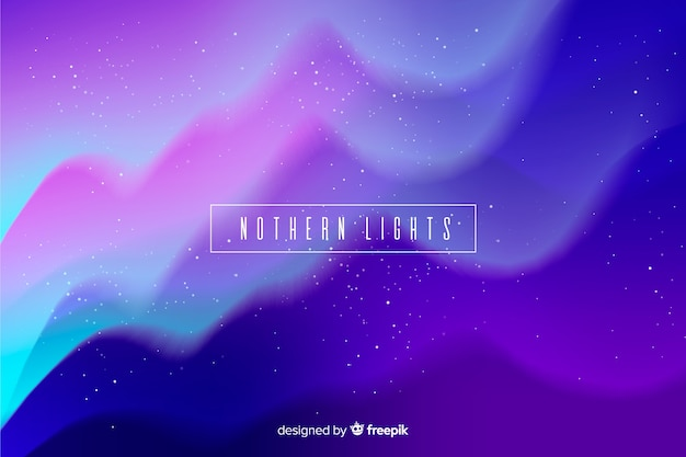 Nothern lights background with wavy starry night