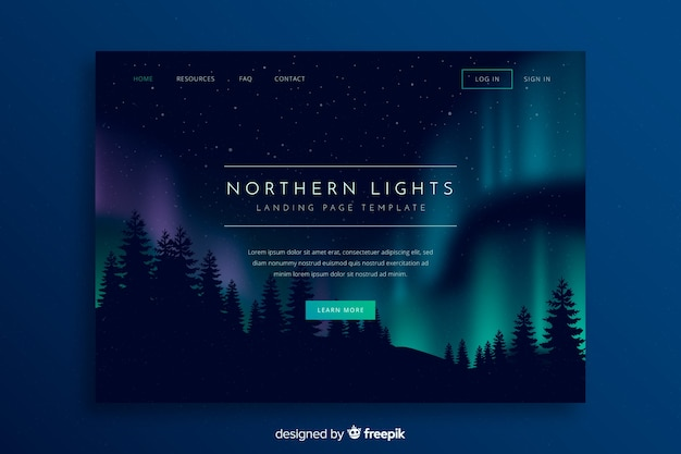 Nothern lights above forest landing page