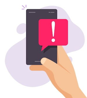 Notice caution important reminder vector notification push sms message on mobile phone flat